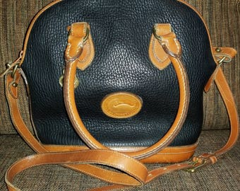 Vintage AUTHENTIC Dooney & Bourke Black and Tan Small Norfolk Case Purse Crossbody Handbag with Long Strap
