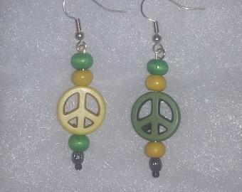 Green Bay Packer Peace Earrings