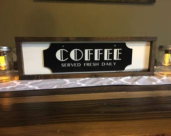 Rustic, Farm house, signs, shabby chic, wood sign, black & white, distressed, coffee, rectangle