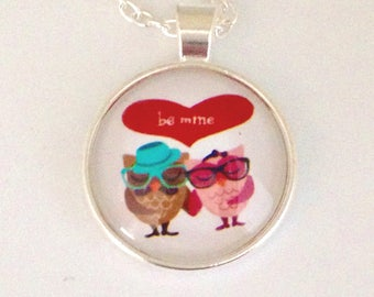 Long necklace mi couple of owls be mine