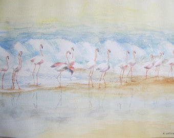Delicate watercolor flamingos 2010