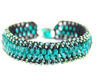 Iridescent Green Crystal Bracelet