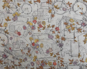 Fabric Liberty of London traveling Threads, bicycles, flower motifs - 25 cm x 136 cm