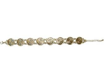 Bracelet round tray, color gold.