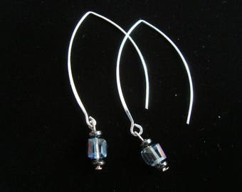 Iridescent dangle earrings lightweight elliptical with square glass beads