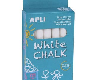 Craies blanches x 10 - APLI - Ref 14576 ---------- Jusqu'à épuisement du stock !