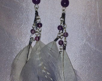 Purple iridescent grey natural feather and Amethyst gem stone earrings