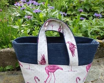 Bag shaped basket flamingos pattern fabric and pink denim