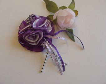Purple satin flower 2 applique hearts button 7 cm large