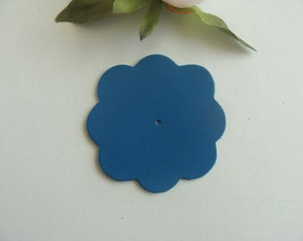 leather flower applique full blue 6 cm diameter