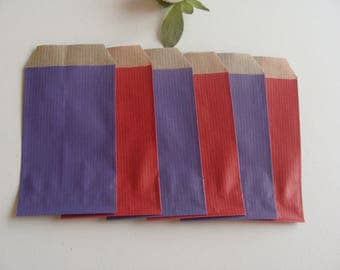 1 lot of 10 gift wrapping jewelry purple red 7 * 12 cm bottom Brown kraft paper bag