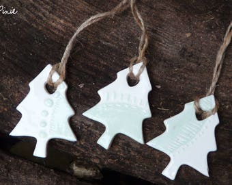 Christmas tree shaped, white and pale green set of 3 trees