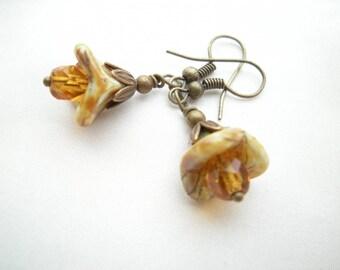 "Earrings ""amber beads flowers"""