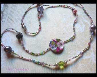 """Long mixed beaded necklace """"Spring"""""""
