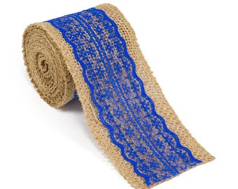 """2.5"""" Wide x 10 Yards Long Natural Burlap Craft Ribbon with Lace (Jute Ribbon, Burlap Tape, Rustic Decor) with Royal Blue Lace"""
