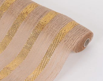 "21"" Wide x 6 Yards Long Natural Burlap Fabric (Table Runner, Ribbon, DIY Craft, Fabric, or Weddings) with Gold Metallic Stripe"
