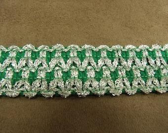 FANCY Ribbon - 3 cm - green furnishes silver