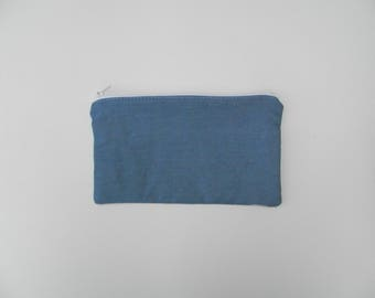 Clutch in cotton jeans. Handmade in Quebec