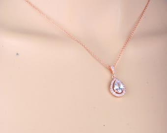 Cubic zirconia Necklace,Bridal Necklace, Cubic zirconia pendant, Wedding Necklace,  Bridal Jewelry, Wedding Jewelry