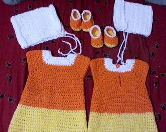 Candycorn Dress, booties, & bonnet
