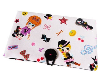 "Pink black DSI Nintendo 3DS ""Small Kawaii musicians"" fabric pouch"