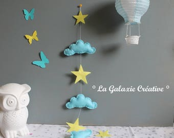 Garland of blue clouds and yellow stars