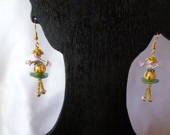 Original miniature dolls articulated earrings