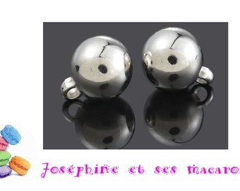 1 Pearl 14 mm silver acrylic charm