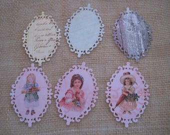 Set of 6 images, embellishments, cuts, dies, girl, vintage, oval, Locket