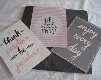 Set of 3 images, embellishments, texts, inscriptions, writing, scrapbooking