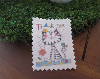 Image transfer, to sew, cat, funny, flowers, Thank you