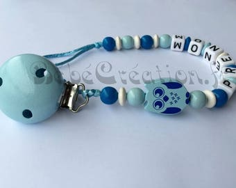 Personalized blue OWL pacifier clip