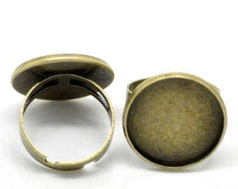10 support ring bronze cabochon glass 20mm - SC20900-