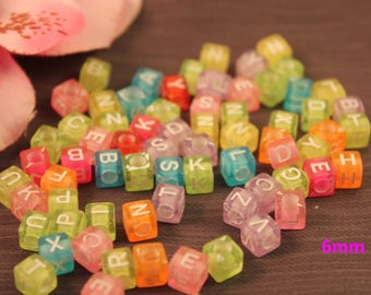 200 acrylic beads Alphabet cubes 6mm multicolored
