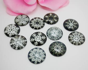 20 Cabochons glass pattern snowflakes set black 20mm glue - SC72020.