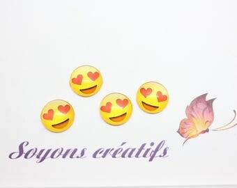 Lot 20 SC79931 pattern Emoji Smiley heart stick - 12mm glass Cabochons