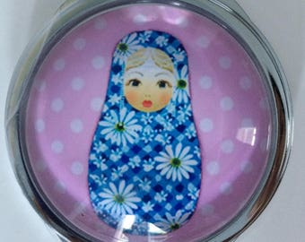 RUSSIAN MATRYOSHKA DOLL PATTERN POCKET MIRROR DOUBLE SIDED WITH BACK FILIGREE
