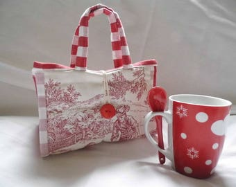 "Mug ""toile de jouy"" purse Red"