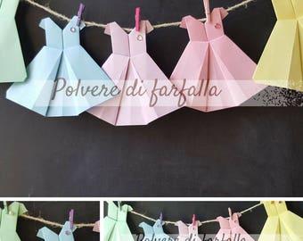 Origami dress party decorations, marks place, little cadeau