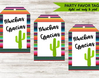 Fiesta Favor Tags Digital 2x3 Taco Bout A Party Matching 10 per page Party Thank you Tags Muchas Gracias Serape