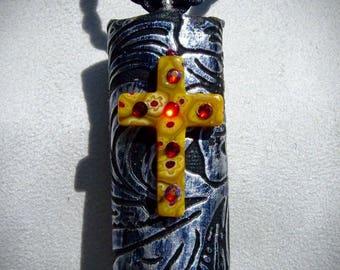 GRISELDA pendant - cross milleflori Crystal Ruby color