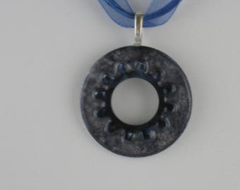 Dark Blue & Silver Washer Necklace