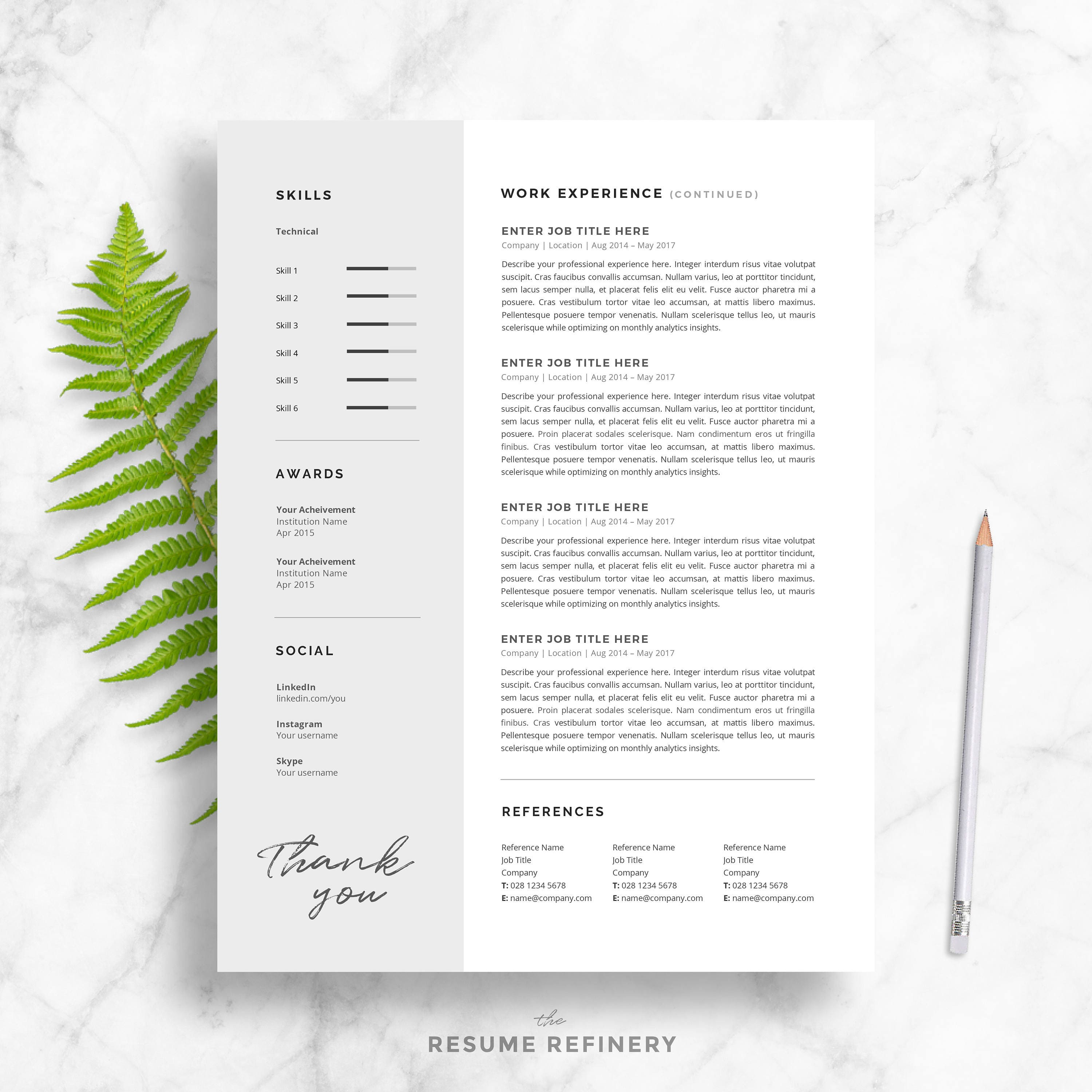 professional resume template for word two page resume cover letter template sophisticated - Two Page Resume Template