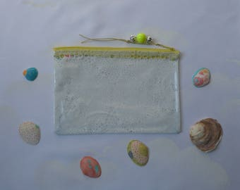 Handmade zip pouch in a clear vinyl, waterproof PVC 'lace', make-up, medication airplane, beach, pouch bag