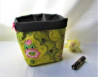 Basket Organizer, storage basket, waterproof laminated cotton, green yellow floral fabric, storage home decor, gift idea, handmade