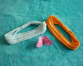 Crocheted set of two headbands for women