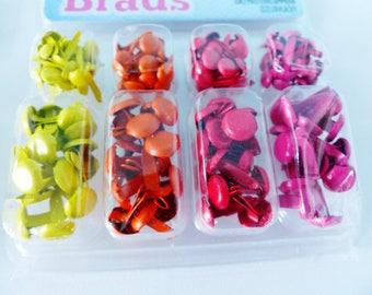 set of 140 Brads yellow orange red and fuschia 2sizes brad, Brad