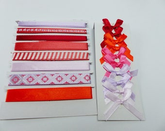 8 satin ribbons and 10 in the colors of red and purple satin bows