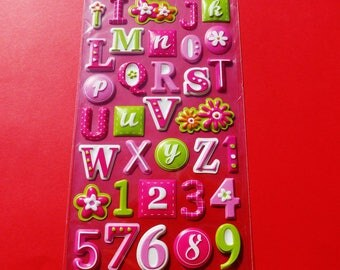 plank 51 stickers alphabet and numbers embossed with pink and green flower curved stickers