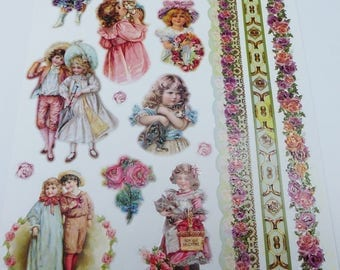 print size A4 kids vintage, and glittered and embossed border stickers